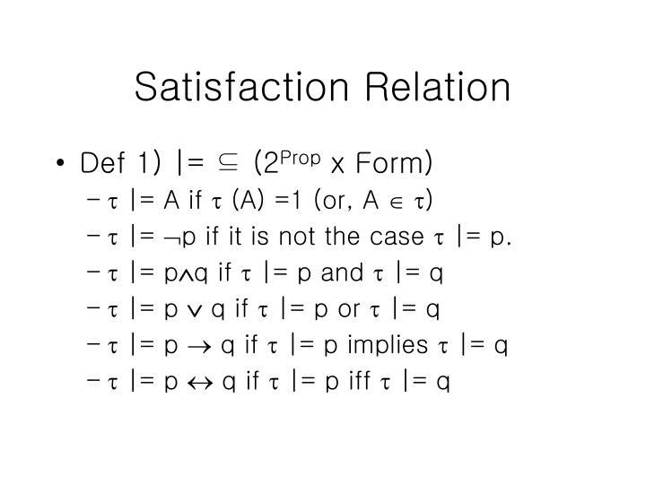 Satisfaction Relation