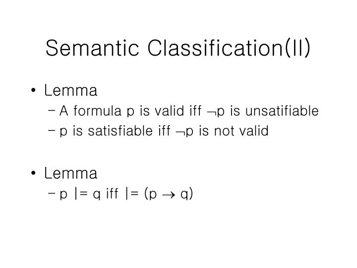 Semantic Classification(II)