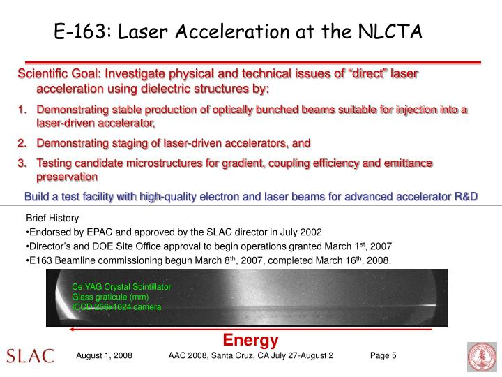 E-163: Laser Acceleration at the NLCTA