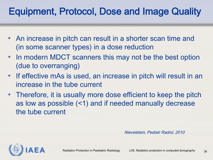 Equipment, Protocol, Dose and Image Quality