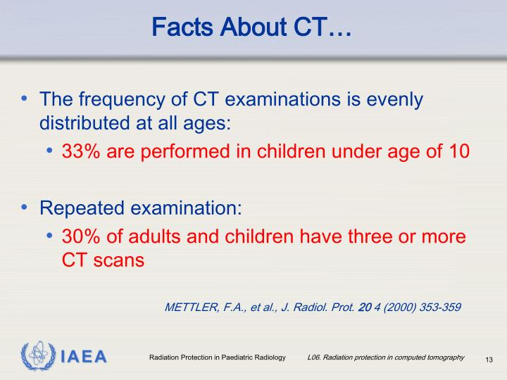 The frequency of CT examinations is evenly distributed at all ages:
