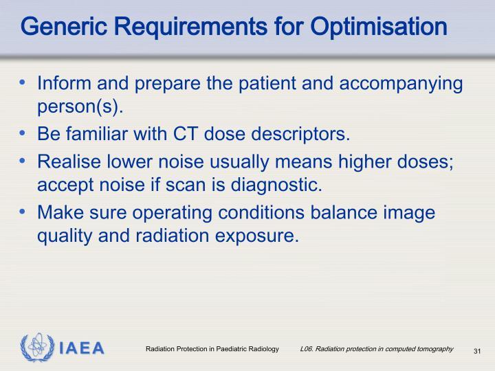 Generic Requirements for Optimisation