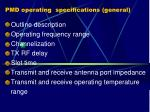 pmd operating specifications general