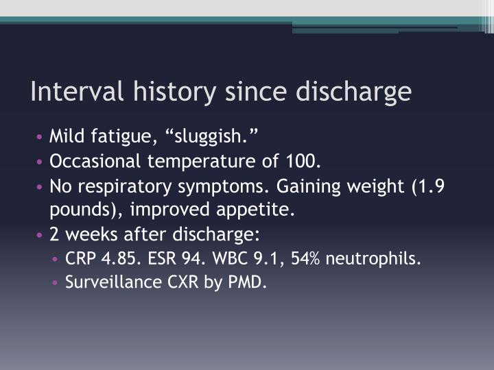 Interval history since discharge