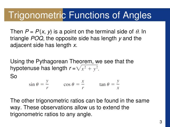 Trigonometric functions of angles1