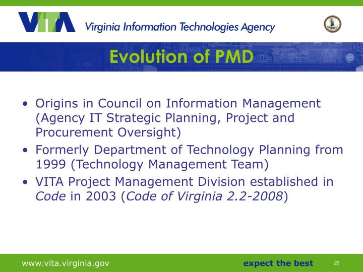 Evolution of PMD