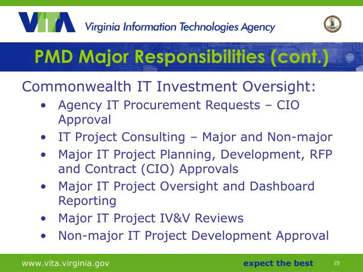 PMD Major Responsibilities (cont.)