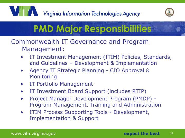 PMD Major Responsibilities