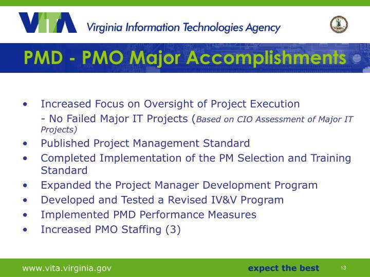 PMD - PMO Major Accomplishments