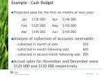 example cash budget