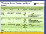 talk to the expert webinars and open houses