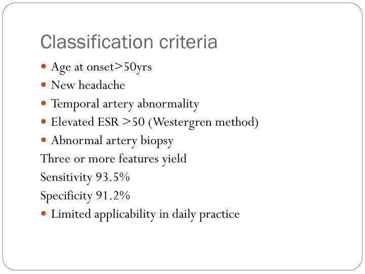Classification criteria