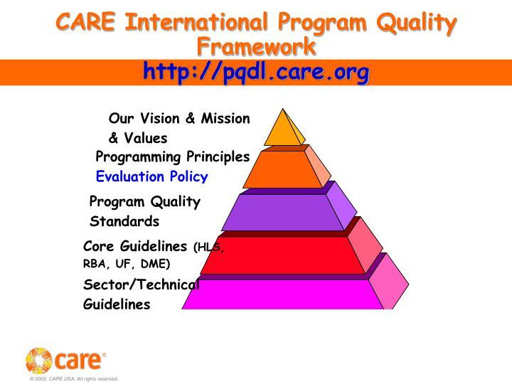 Care international program quality framework http pqdl care org