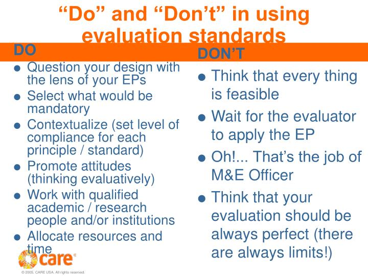 """""""Do"""" and """"Don't"""" in using evaluation standards"""