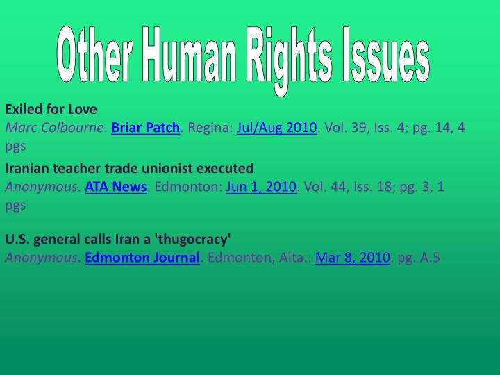 Other Human Rights Issues