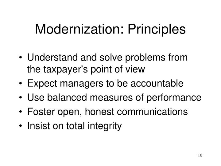 Modernization: Principles
