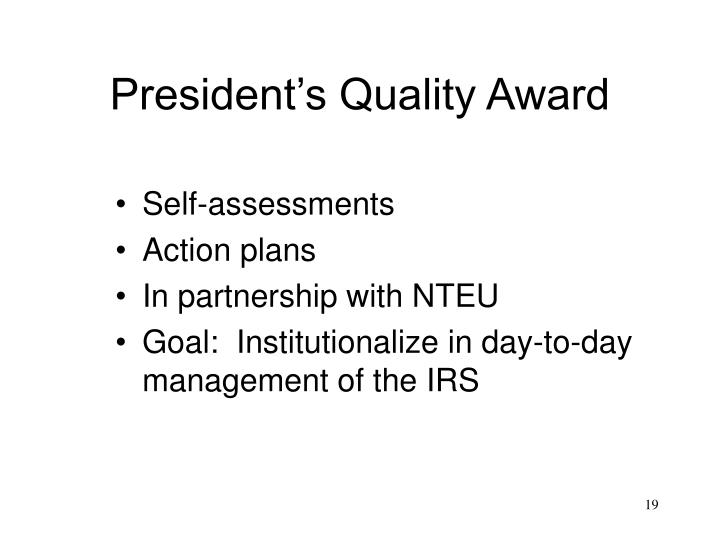 President's Quality Award
