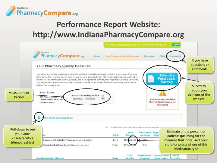 Performance Report Website: http://www.IndianaPharmacyCompare.org