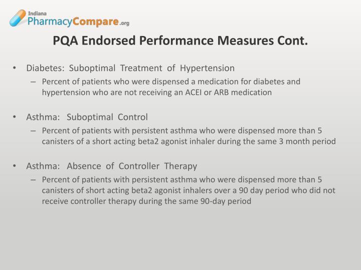 PQA Endorsed Performance Measures Cont.