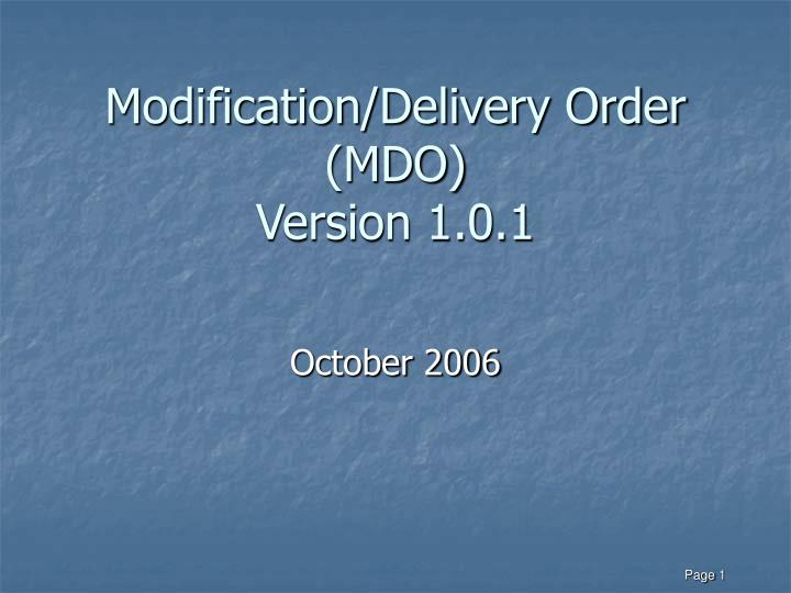 modification delivery order mdo version 1 0 1 n.