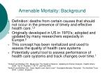 amenable mortality background