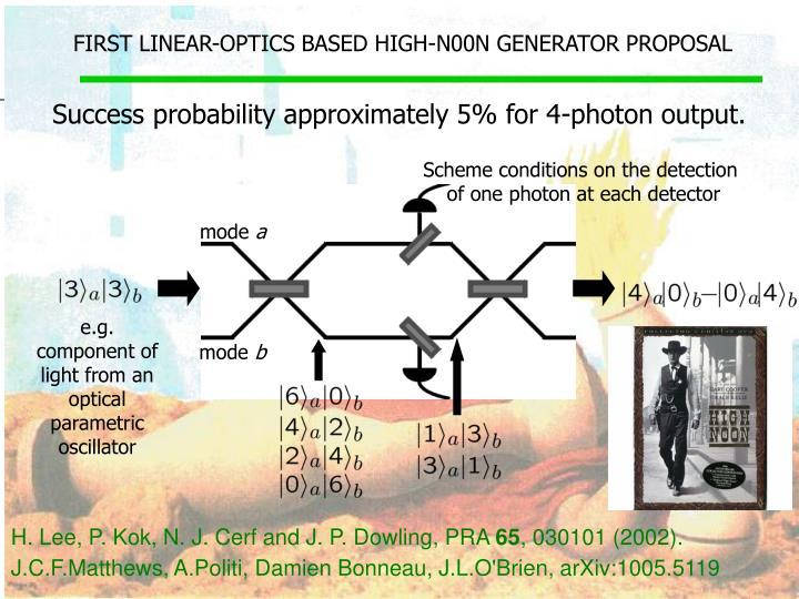 FIRST LINEAR-OPTICS BASED HIGH-N00N GENERATOR PROPOSAL