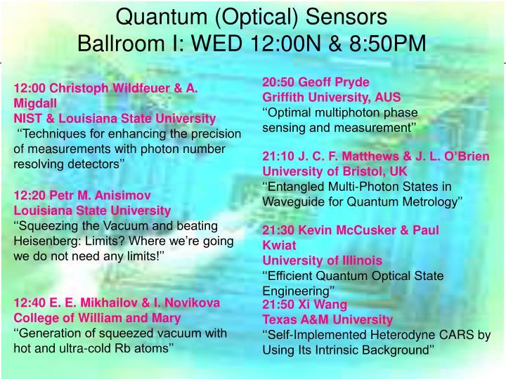 Quantum (Optical) Sensors