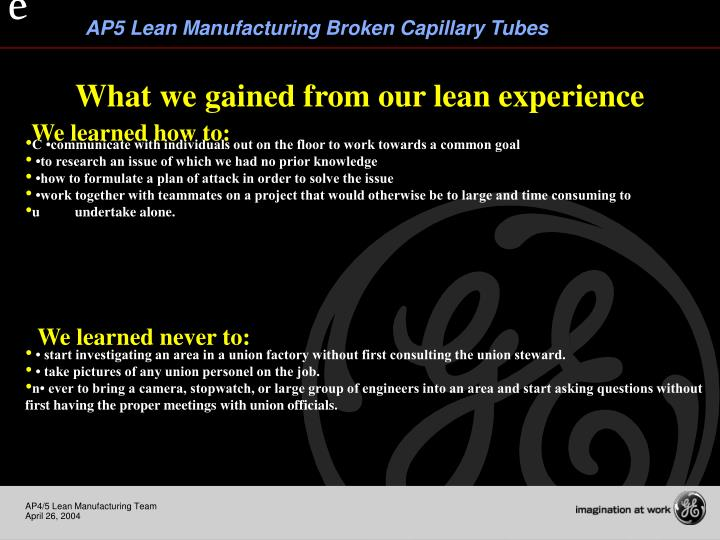 What we gained from our lean experience