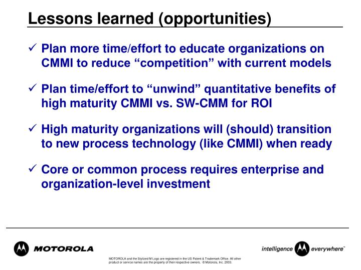 Lessons learned (opportunities)