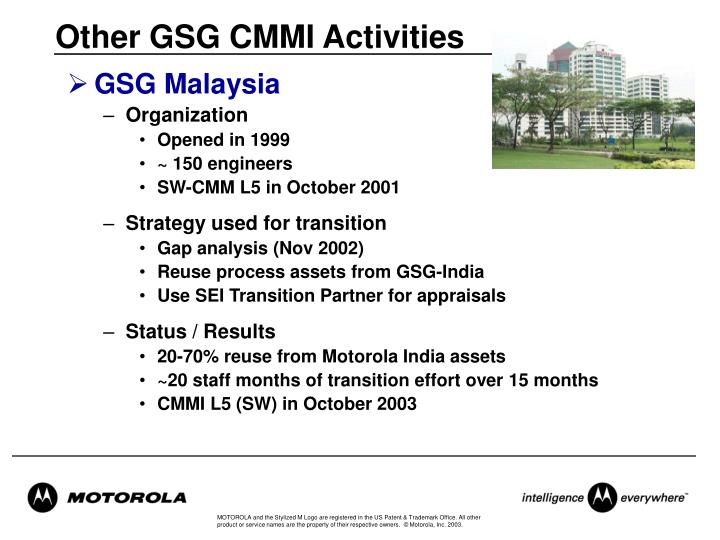 Other GSG CMMI Activities