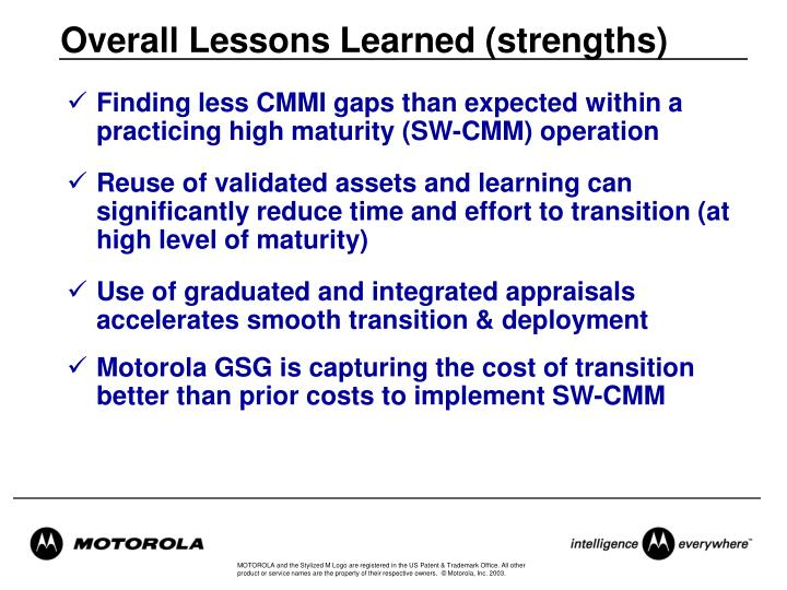 Overall Lessons Learned (strengths)
