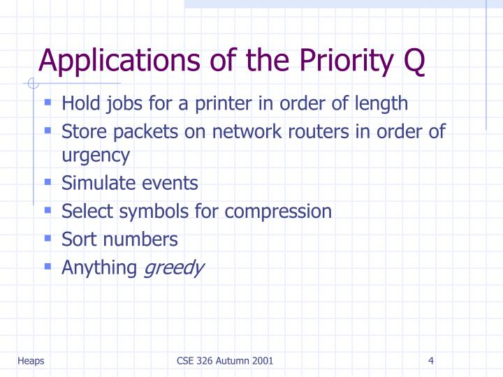 Applications of the Priority Q