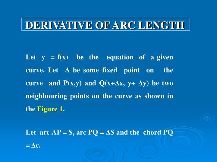 Derivative of arc length