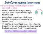 set cover games upper bound