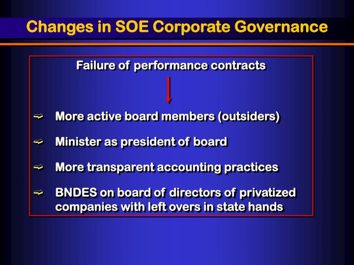 Changes in SOE Corporate Governance