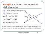 example if m 4 67 find the measures of all other angles