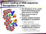 direct reading of dna sequence recognition of form