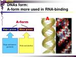 dnas form a form more used in rna binding