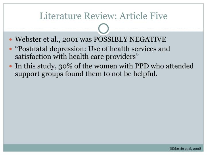 Literature Review: Article Five