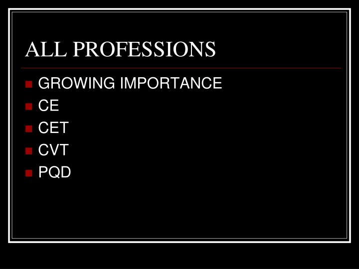 ALL PROFESSIONS