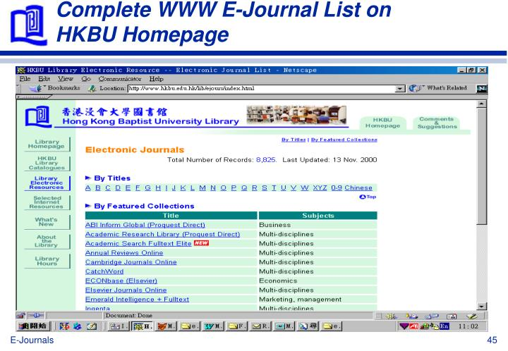 Complete WWW E-Journal List on HKBU Homepage