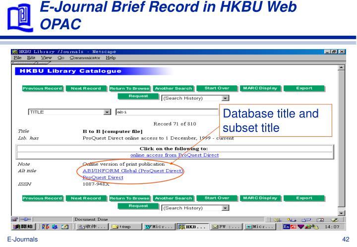 E-Journal Brief Record in HKBU Web OPAC