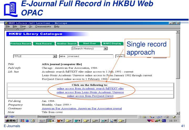 E-Journal Full Record in HKBU Web OPAC