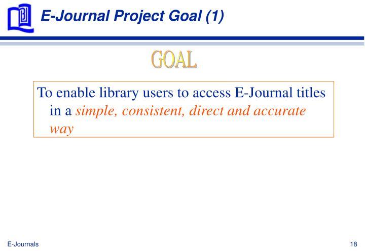 E-Journal Project Goal (1)