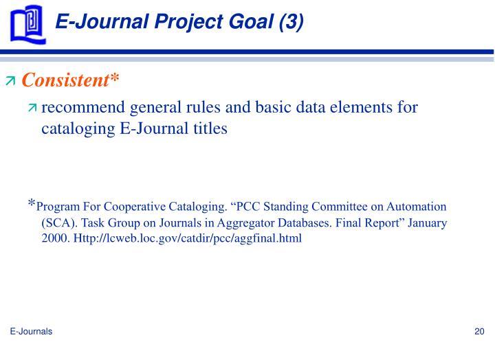 E-Journal Project Goal (3)