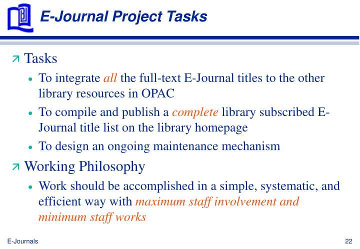 E-Journal Project Tasks