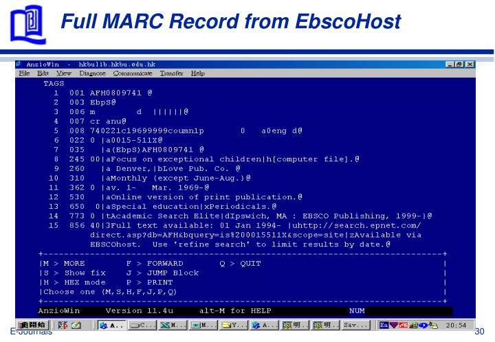 Full MARC Record from EbscoHost
