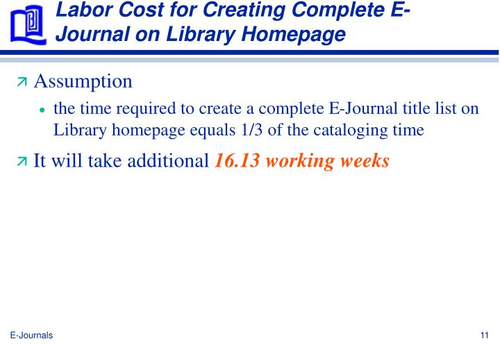 Labor Cost for Creating Complete E-Journal on Library Homepage