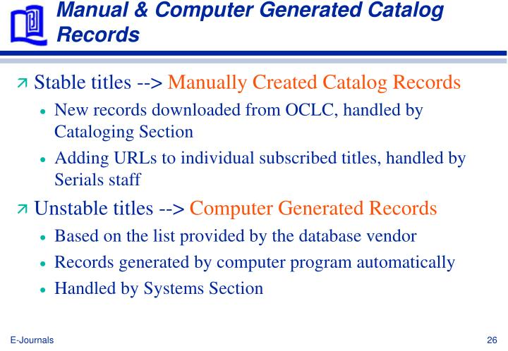 Manual & Computer Generated Catalog Records