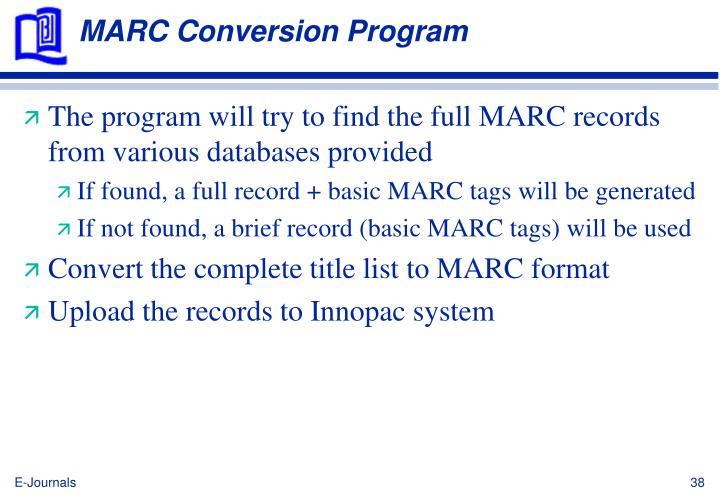 MARC Conversion Program